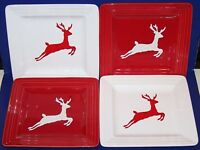 "LOVELY LAURIE GATES SET OF 4 DASHER REINDEER 8 1/2"" SQUARE SALAD PLATES"