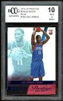 2014-15 Prestige Bonus Shots Blue #163 Joel Embiid Rookie Card BGS BCCG 10