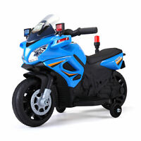6V Kids Motorcycle Powered Electric Ride On Toy Car w/ 2 Training Wheels Blue
