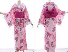 K-77 ROSA PINK FLOWER FIORI ORIGINALE Giappone Cotone Kimono Yukata cintura obi