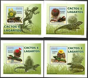 {252} Guinea Bissau 2008 Flowers Cactus & Lizards 4 S/S Deluxe MNH**
