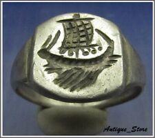 ** GALLEY ** Ancient Silver Legionary Roman Ring ** RARE **