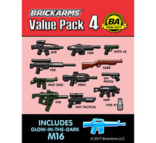 BRICKARMS Value Pack #4 Weapon Pack w/ GLOW M16 for Lego Minifigures NEW