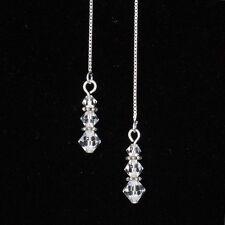 *SJ1* Triple Drop Sterling Silver Threader Dangle Earrings w/ Swarovski Crystal