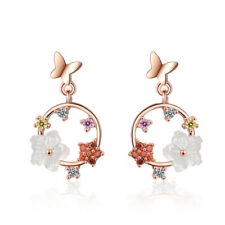 Zircon Flower Butterfly Stud Earrings Ladies Fine Elegant 925 Sterling Silver