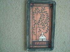 "Primitive Country Print *FAITH with CHURCH* black frame 6 1/2"" x 12"" FREE SHIP!"