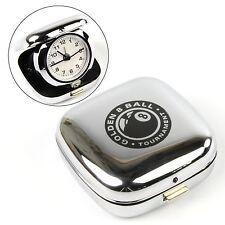 Golden 8 Ball Tournament Chrome Travel Alarm Clock - Pocket Size