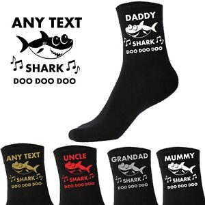 Personalised Socks - Baby Shark - Grandad Daddy Mummy Groom Novelty Custom Gift