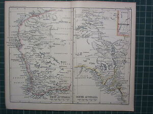 1887 ANTIQUE MAP ~ WEST & SOUTH AUSTRALIA PERTH DELAIDE KANGAROO ISLAND
