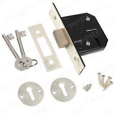 """63mm/2.5"""" Nickel Silver 3 LEVER DEAD LOCK Security Door Mortice Case Suit Chrome"""