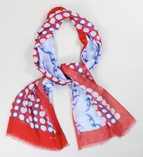 $695 New Kiton Men's Scarf Linen Viscose Red Blue White Circle Dot Paisley Print