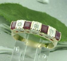 Pre owned 14k Solid Yellow Gold Natural Diamond & Princess Cut Ruby Ring 0.55ct