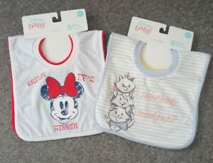 2x Packs of Disney Baby Bibs 'THE ARISOCATS' & 'MINNIE MOUSE' (3+months)
