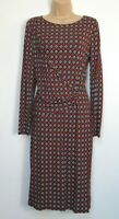 New Marks & Spencer Tile Print Bodycon Long Sleeve Midi Dress - size 10 - 24