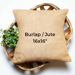16x16 Burlap / Jute Throw Pillow Covers | Wholesale Rustic Jute Pillow Blanks