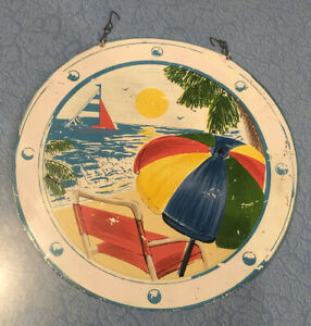 Vtg Beach Nautical Ocean Hanging Rustic Plaque Hand Painted Art Wall Decor Chain