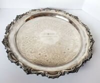 Vintage Silver Plated Heavy Solid Serving Tray Footed Tea Platter Engraved