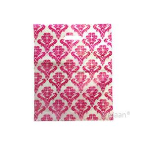 "Damask Dark Pink Plastic Carrier Bags 10""x12""+4"" Gift Celebration Pack of 100"