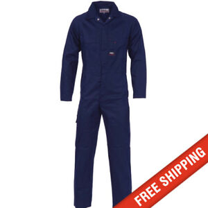DNC workwear Mens CottonDrill Coverall Overalls Safety Tradie Mechanic +FREEpens