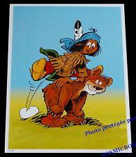 YAKARI joue à saute mouton avec ourson AFFICHE chambre poster indien d'enfants