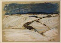 """Haselhuhn, Werner - Pastell auf beigef. Papier""""Sächsische Landschaft"""" 1976 sf"""