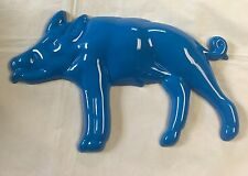 "Plastic Blue Pig Shaped 6"" X 10"" Wall / Door Signage"