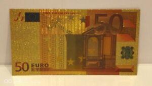 Collectable Collectors European Gold 50 Euros Coloured Banknote