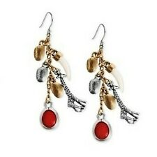 Lucky Brand Cape Town Linear Earrings Giraffe, Tusk & Coral Charms MSRP $35