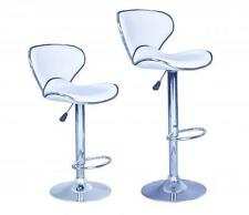 Set of 2 Bar Stools White PU Leather Modern Hydraulic Swivel Dinning Chair B03