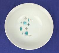 """Sabin Blue Moderne Bowl Turquoise Snowflake Round Vegetable MCM Atomic USA23 9"""""""