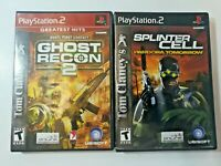 PS2 Tom Clancy Ghost Recon 2 and Splinter Cell Pandora Tomorrow FREE SHIPPING
