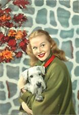 Lovely lady with terrier puppy dog semi-modern postcard