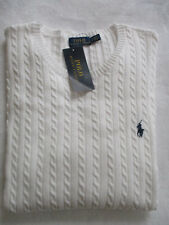 Ralph Lauren Polo NWT Women's White Cotton Crew Neck Cable Knit Large Sweater