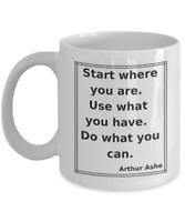 Arthur Ashe Start Quote Coffee Mug - Frame, Ceramic, White, 11 Oz - NEW FreeShip