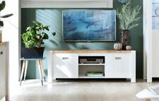 Modern Cottage Country Media TV Stand Cabinet Storage Unit White Oak 160cm DR