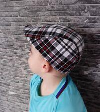 Boys Girls Flat Cap Tweed Check Herringbone Peaky One Size Kids Nice Hat New #SG