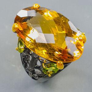 Fine Art Jewelry Citrine Quartz Ring Silver 925 Sterling  Size 8 /R173338