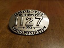 ANTIQUE WILKES-BARRE PA RAILWAY COMPANY TROLLEY EMPLOYEE TRANSPORTATION BADGE