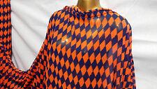 *NEW*Smooth Drapey Orange/Navy Diamonds Print Dress/Craft Fabric *FREE P&P*