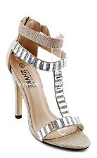 Women Evening Jewel Stone  Stiletto Heels Open Toe Ankle Strap Sandals Bride