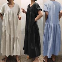 ZANZEA Womens Short Sleeve V Neck Cotton Patchwrok Casual Loose Long Maxi Dress