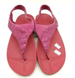 Fit Flop Red Pink Leather Rhinestone Slingback Thong Sandals Shoes Women's 7