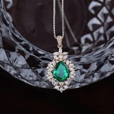"""2CT Pear Cut Emerald Cluster Style Pendant 18"""" Chain 14K Rose Gold Over"""