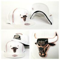 Mitchell & Ness Zipper White / Copper Metal Badge Chicago Bulls snapback Hat Cap
