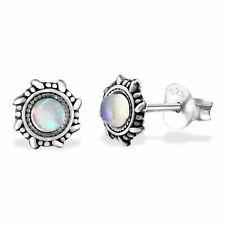 Silver Stud Earring Round Star White Opal 925 Sterling Silver Stud Earrings