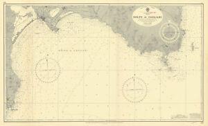 Golfo di Cagliari, Sardinia, Mediterranean. ADMIRALTY sea chart 1944 (1956) map