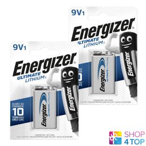 2 ENERGIZER 9V ULTIMATE LITHIUM BATTERIES L522 9B E BLOCK EXP 2027 NEW