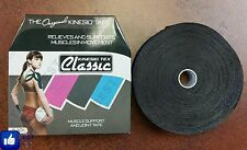 """Classic Kinesio Tex, Black 2""""   Athletic Kinesiology Muscle Joint Support Tape"""