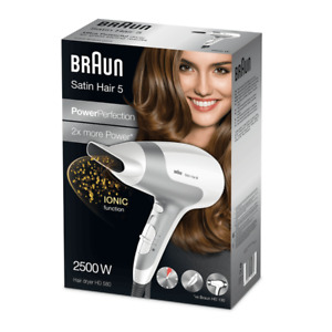 Braun Haartrockner HD 580 Fön Satin Hair 5, Ionen, 2500 Watt, weiß silber