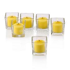 72 Glass Square Votive Holders W/ Citronella Yellow Votive Candles Burn 10 Hours
